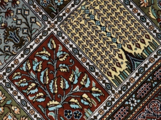 和風なセンターラグシルクペルシャ手織りじゅうたん47070
