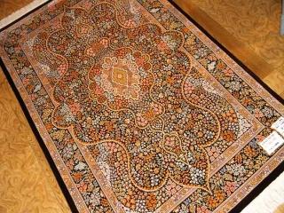 最高級シルクの手織りペルシャ絨毯クム有名工房48065