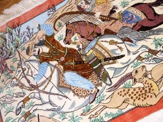 ペルシャ絨毯クムシルク小さいハンティング模様50014