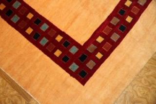 最高級手織りペルシャギャッベ、とても細かい織り方のシンプルデザイン16711