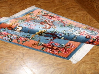 小さいペルシャシルク絨毯ハンティングデザイン50004
