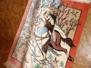 シルクのハンティングデザイン手織りペルシャ50006