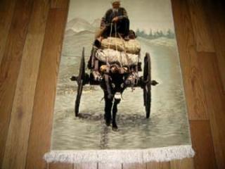 ピクチャー模様手織りペルシャ絨毯10445