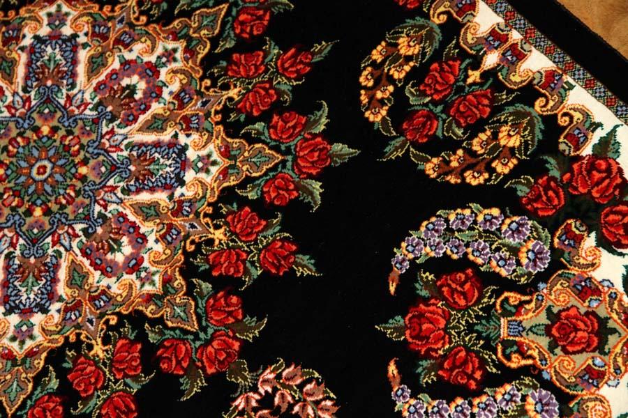 高級玄関マットのバラデザインシルクペルシャ56011