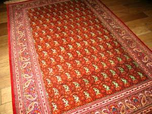 手織ペルシャセンターラグペイズリーペルシャシルク絨毯2622