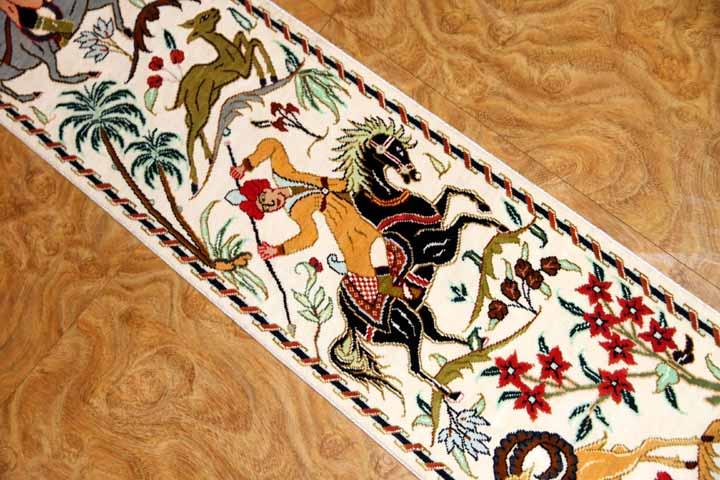 hunting designペルシャ絨毯壁掛けシルク49016