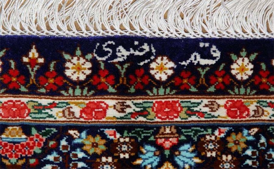 バラ模様のシルク玄関マット手織りペルシャ絨毯クム56083