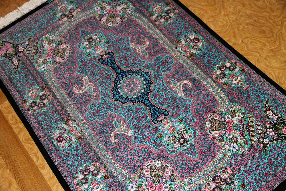 手織りペルシャ絨毯シルクのセンターラグブルー色60024
