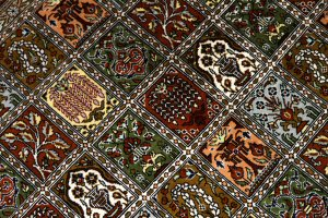 和風絨毯のペルシャ手織りシルクのクム産地シルク48071