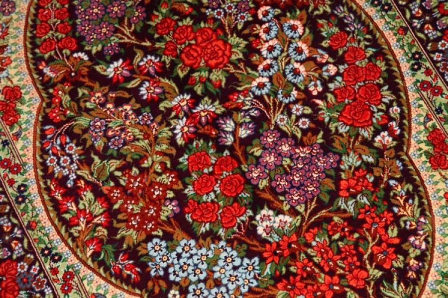花模様シルク手織りペルシャ絨毯玄関マットサイズ56049