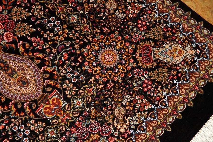 最高級シルク絨毯豪華な花入れ模様ペルシャ絨毯56059