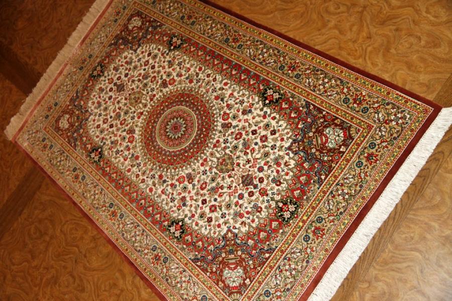 とてもカラフルな玄関マット手織りシルクペルシャ絨毯56062
