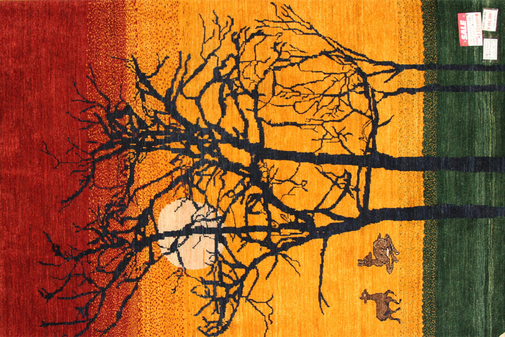 おしゃれ手織りペルシャギャッベソファー前のオレンジ色18105