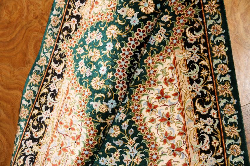 シルクのグリーン色玄関マットペルシャ50017