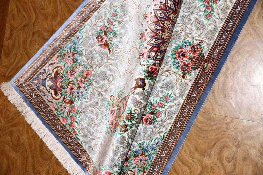 明るいシルクのペルシャ絨毯玄関マット56043