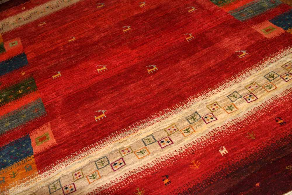 高品質イラン製赤いギャッベ手織りペルシャリビングギャッベ192197