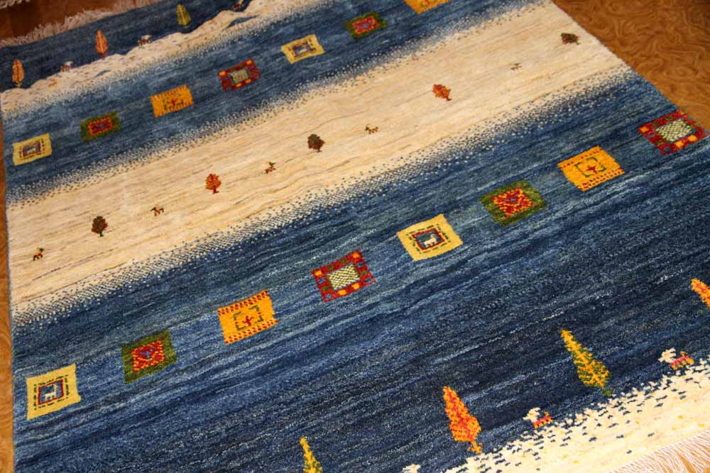 手織りペルシャギャッベオリジナルイラン製のストライプ192200