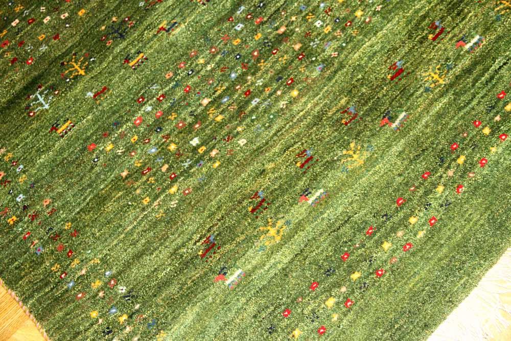 オリジナルペルシャイラン製手織りギャッベグリーン色19237