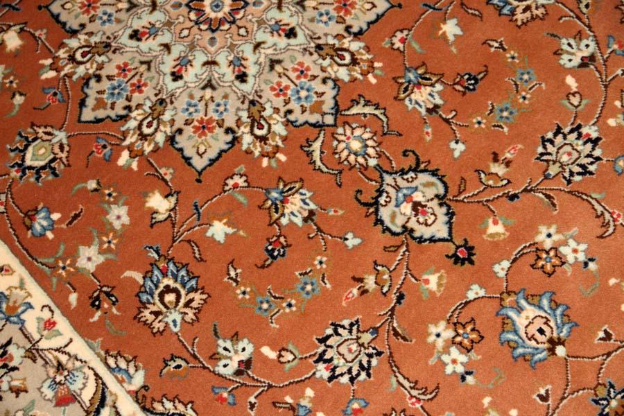 カシャーンの大きめなラグ手織りペルシャ絨毯18946