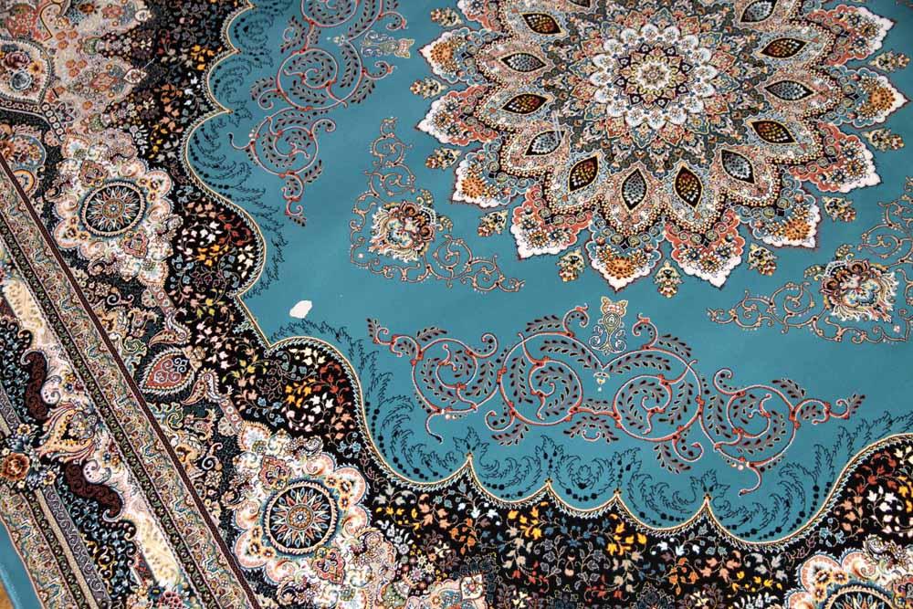 正方形リビング最高級品質の機械織りイラン製カーペットブルー990081H