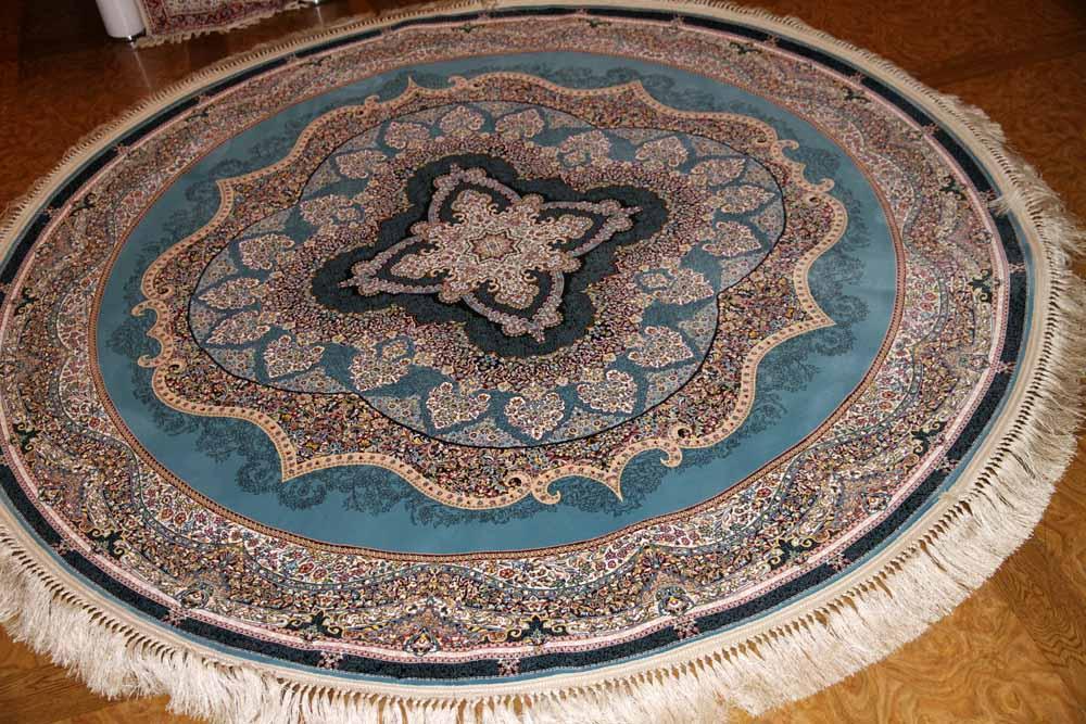 最高級機械織りペルシャカーペット丸い形ブルー990071