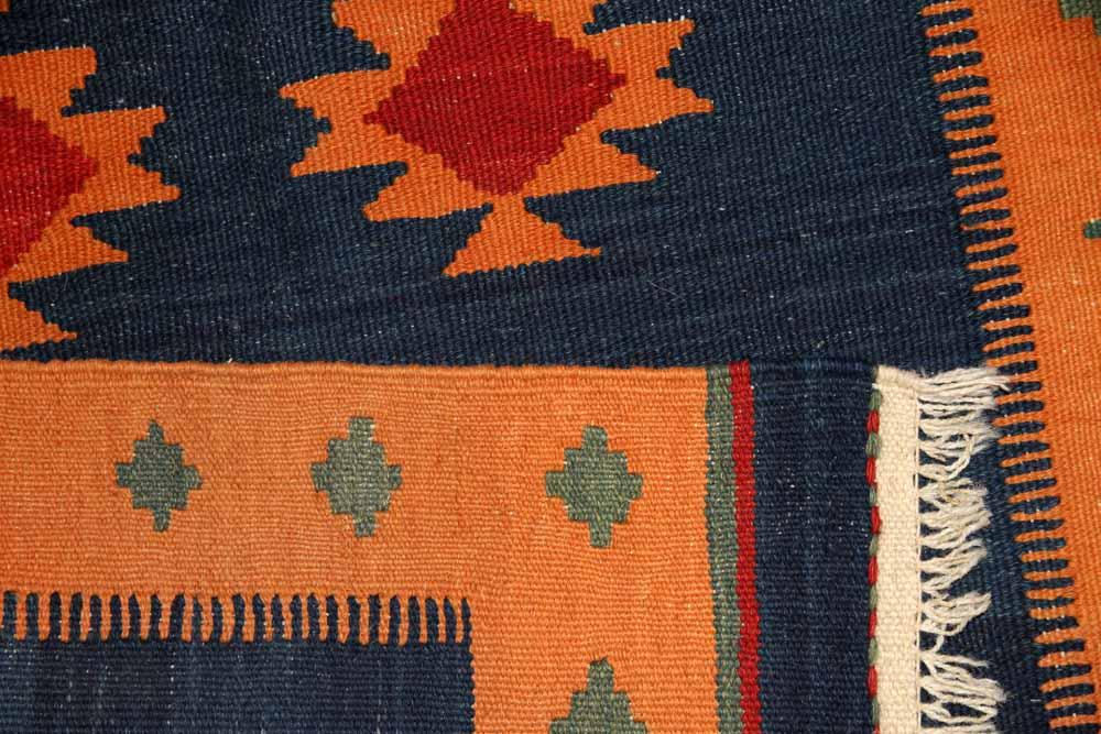 キリムの玄関マットイラン輸入ブルー色46515