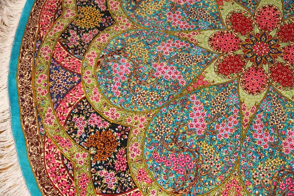 最高級クムシルクの円形とても華やかな色彩60003