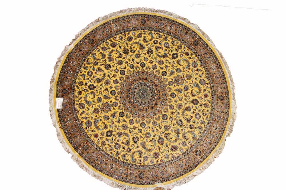 最高級カシャーンシルクの円形とても珍しい色780001