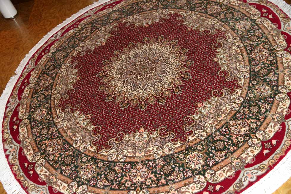 最高級ペルシャ絨毯丸い形タブリーズマヒデザイン29888