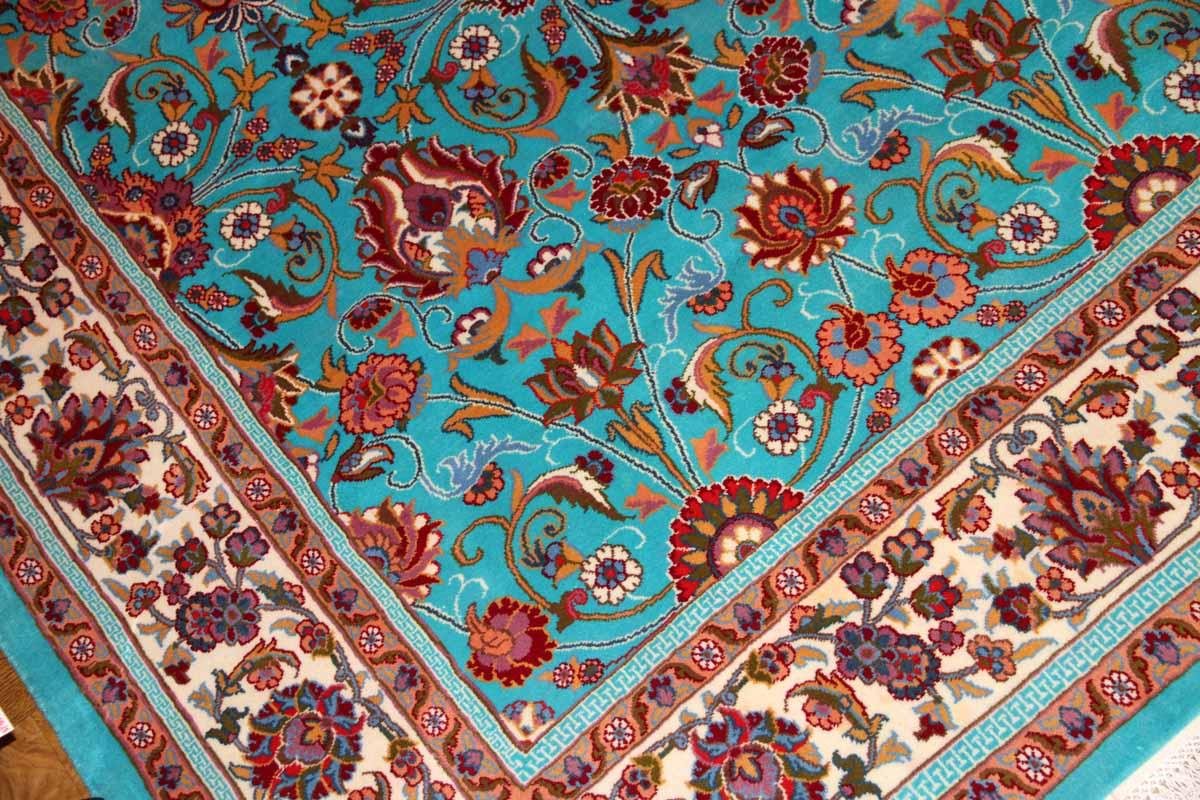 手織りペルシャ絨毯とても綺麗なブルーマシャード産地21180