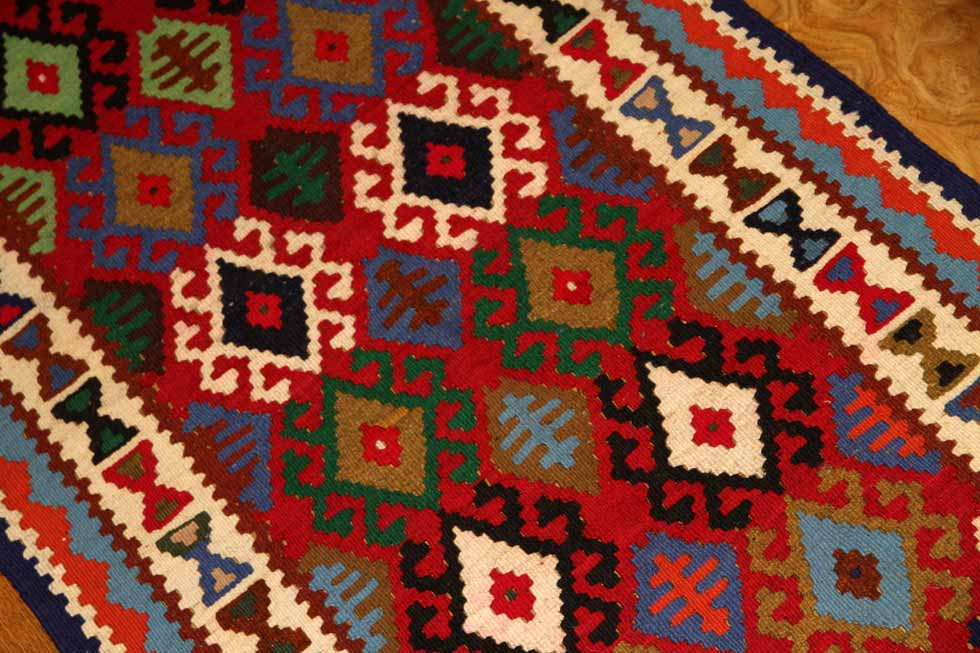 カラフルなキッチンマット手織りペルシャキリム223000