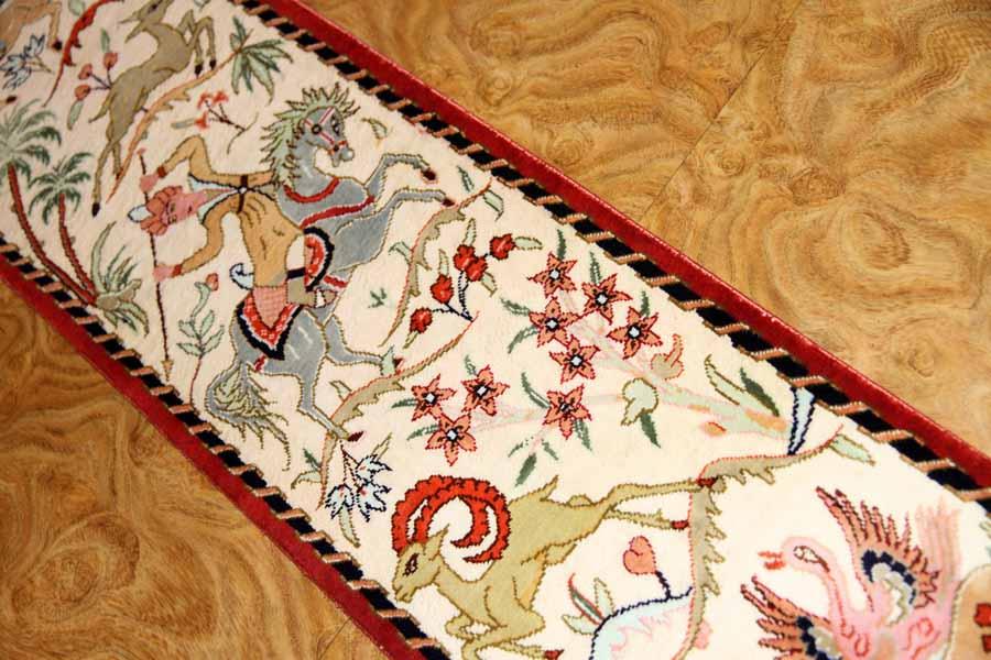 小さいハンティングデザイン細長いペルシャ絨毯49011