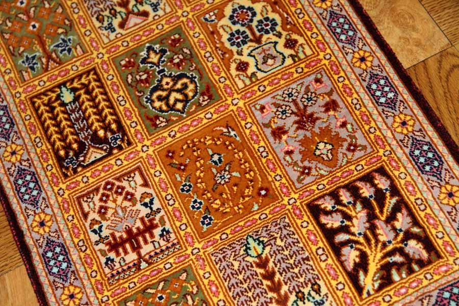小さいシルク絨毯手織りミニカーペットシルク50001