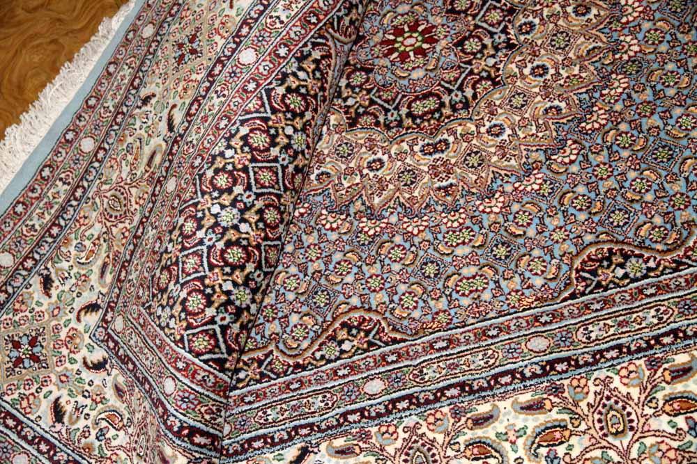 スカイブルームッド産地手織りペルシャ絨毯ラグサイズ18567