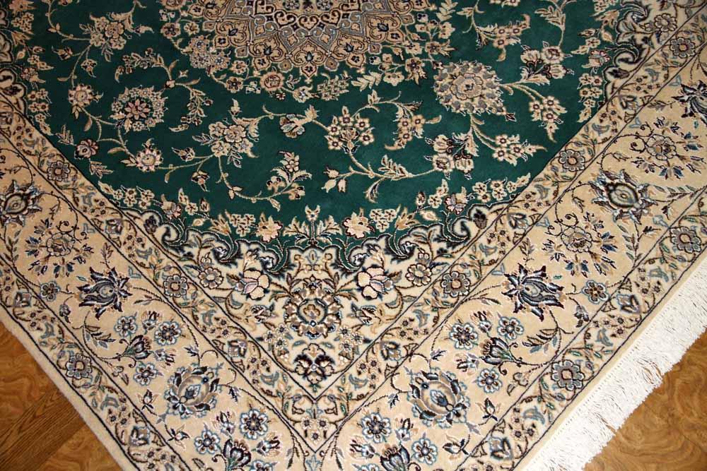 ペルシャ絨毯正方形ナイングリーン色リビング58089