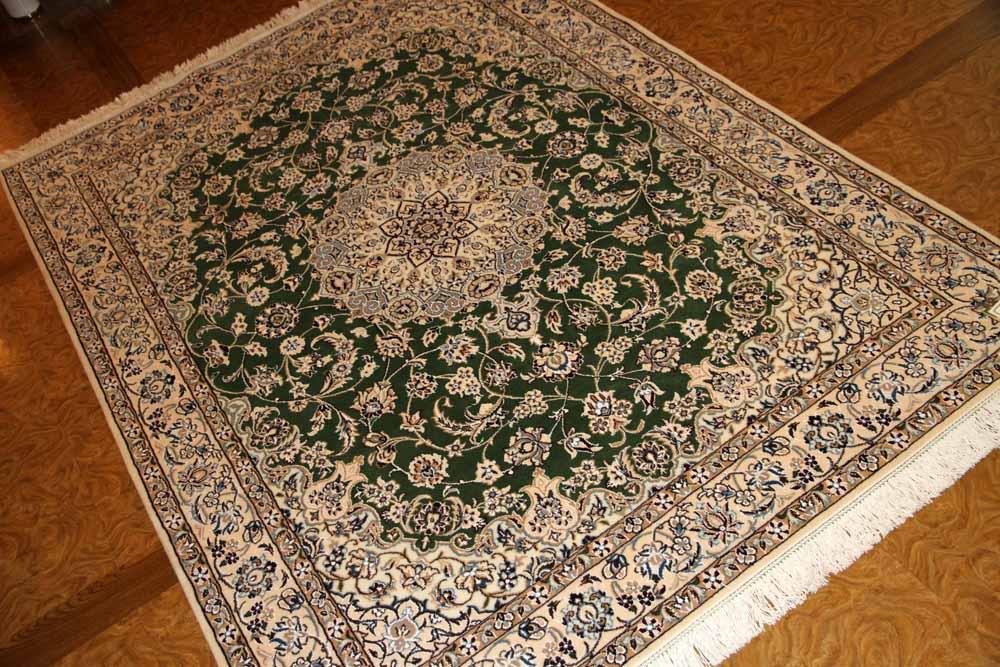 ペルシャ絨毯のナインセンターラググリーン色59018