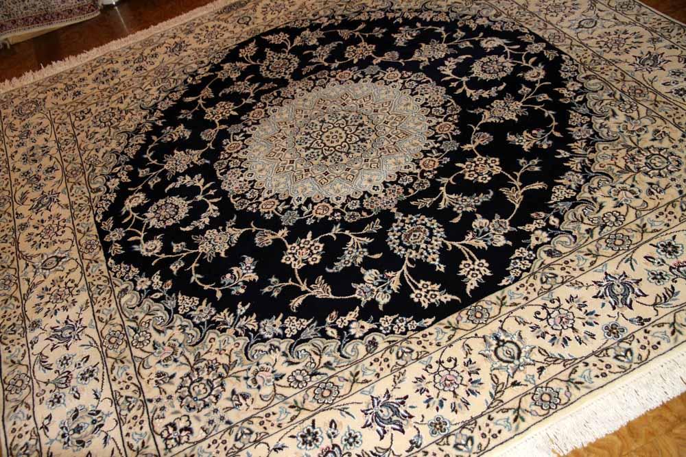 ペルシャ絨毯正方形ナインリビングシックな色彩の紺色58090