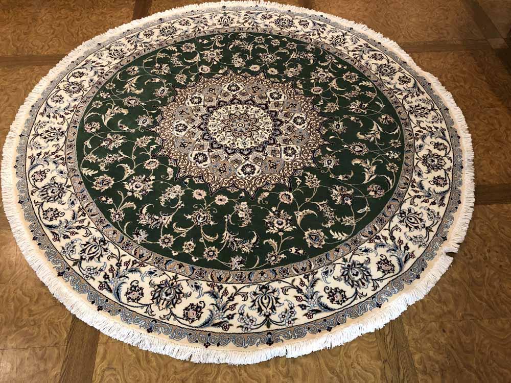 円形のじゅうたん、手織りペルシャ絨毯の丸グリーン188480