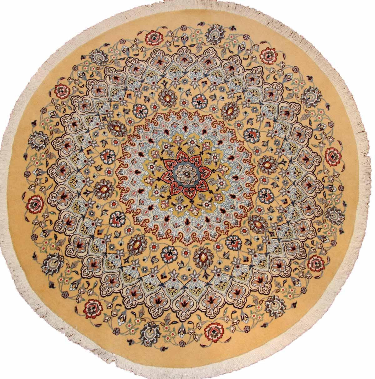 ペルシャ手織り絨毯の丸い形シルクとウールイェロー色188457