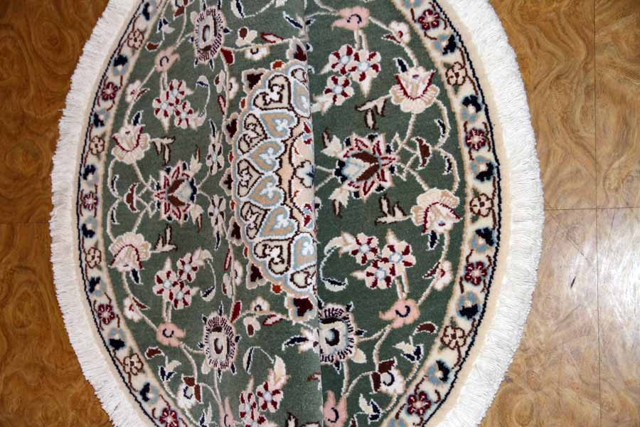 円形な手織りペルシャ絨毯ナイングリーン28648