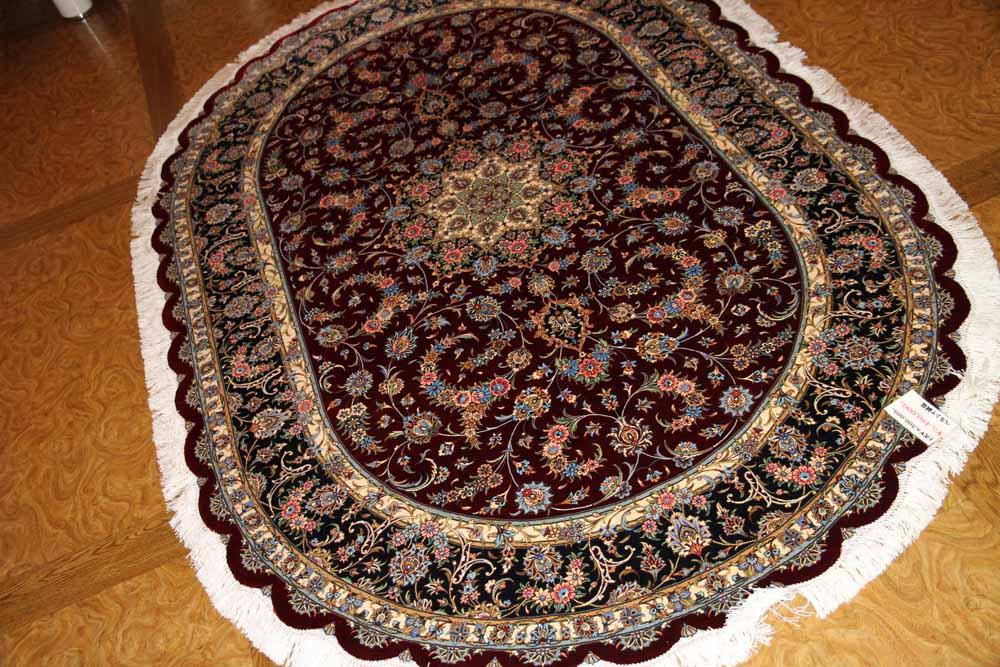 最高級カシャーンシルク楕円形ソファー前サイズ75119