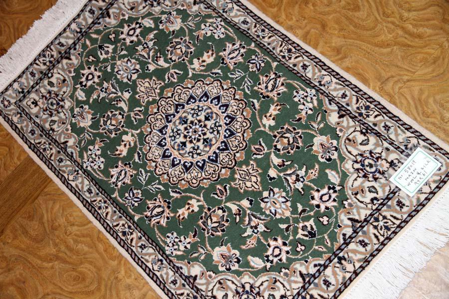 高品質手織りペルシャ絨毯玄関マットナイン58019