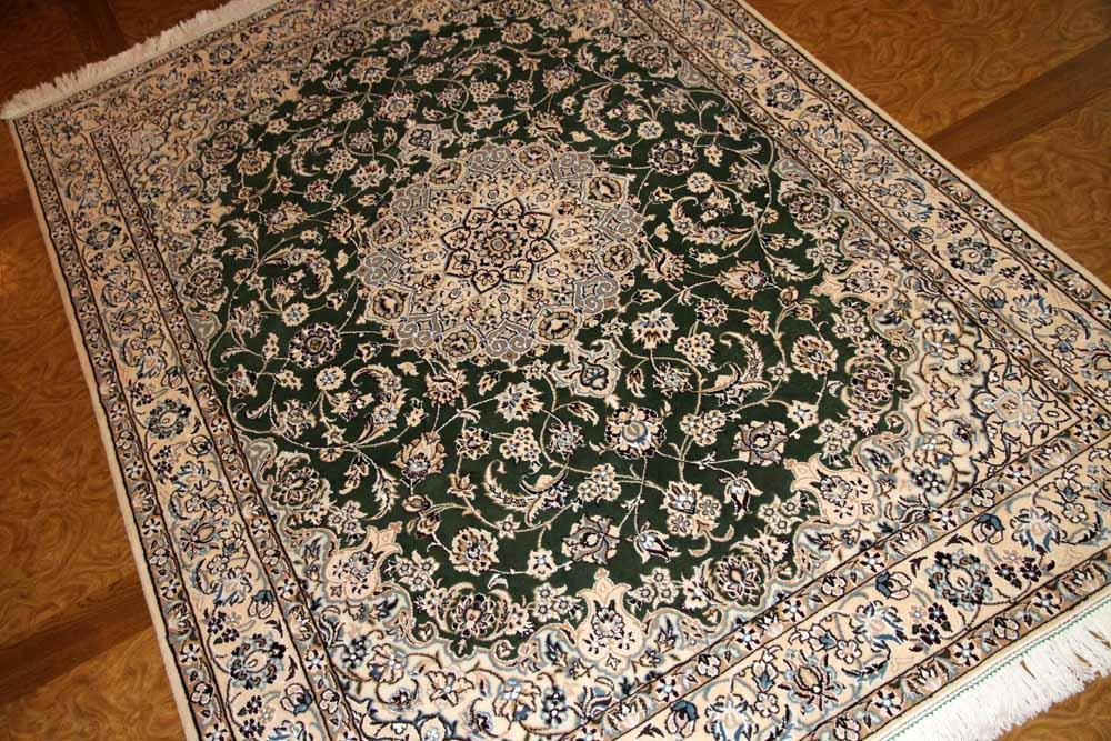 ナイン産のソファー前サイズ手織りペルシャグリーン色59013