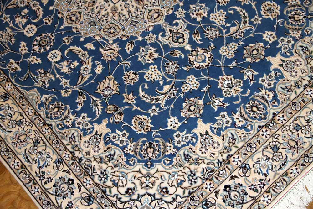 手織りペルシャじゅうたんナイン素敵なブルー色ラグ59014