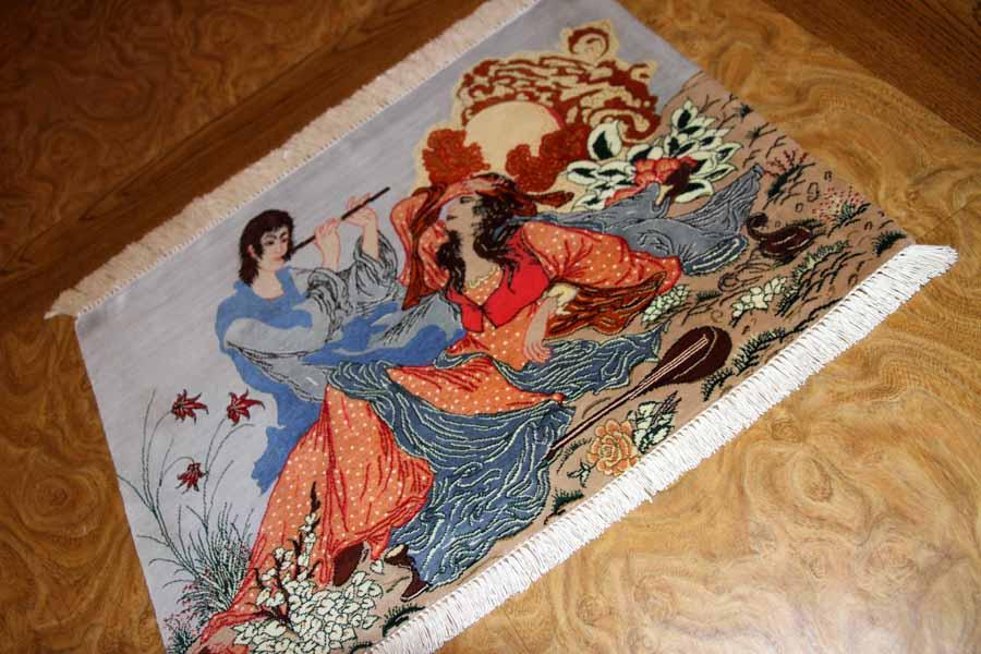 ピクチャーデザインシルククムペルシャ絨毯50011