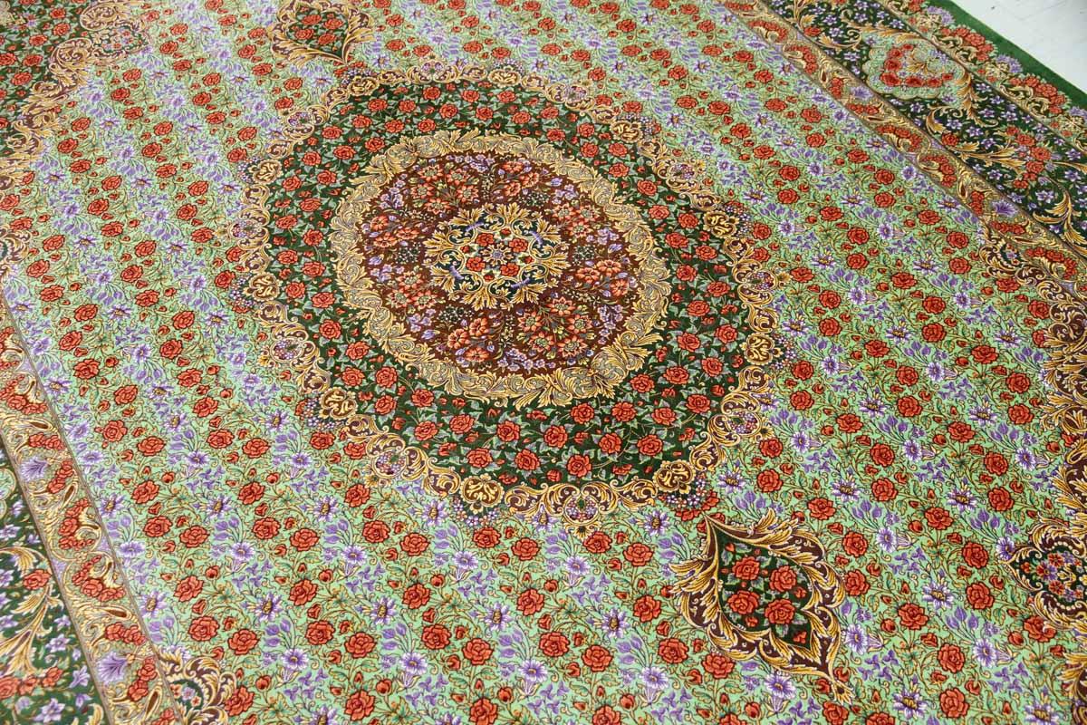 最高級手織りシルクリビングペルシャ絨毯6平米555601