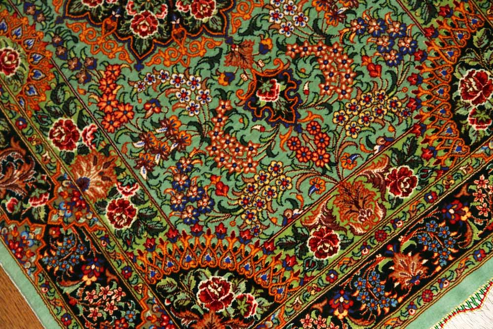 最高級手織りペルシャ絨毯クムシルク玄関マット75117