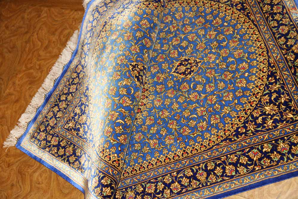 高級シルクの玄関マットペルシャ絨毯ブルー75312