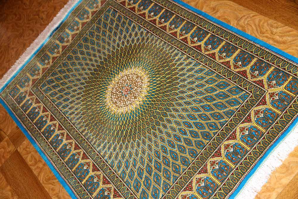 おしゃれ玄関マット、手織りペルシャ絨毯クムシルク60033