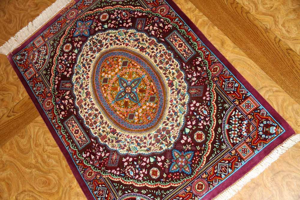高級ペルシャ絨毯手織りシルクのマンション玄関マットクム60049
